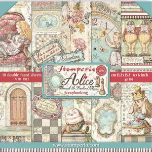 Bilde av Stamperia - 6x6 Paper Pack - 02 - Alice Through the Looking Glas