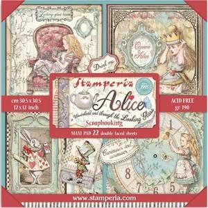 Bilde av Stamperia - 12x12 Maxi Paper Pack - Alice in Wonderland and Thro