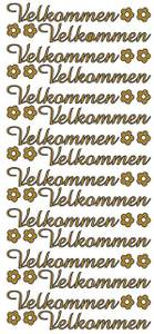 Bilde av Klistremerker - 0295 - Outline stickers - Velkommen - Gull