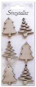 Bilde av Storyteller - Chipboardfigurer - Juletrær, 6 stk