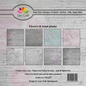Bilde av Dixi Craft - Paper Pad 15x15 - 023 - Flowers & Wood Planks