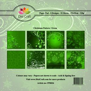 Bilde av Dixi Craft - Paper Pad 15x15 - 026 - Christmas Pattern - Green